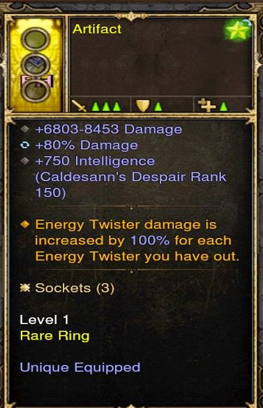 Increase Energy Twiser by 100% Wizard Modded Ring (Unsocketed) Artifact-Diablo 3 Mods - Playstation 4, Xbox One, Nintendo Switch