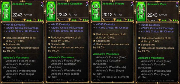 Level 1-70 Complete 4x Piece Modded Asheara's Set-Diablo 3 Mods - Playstation 4, Xbox One, Nintendo Switch