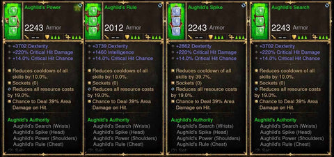 Level 1-70 Complete 4x Piece Modded Aughild's Authority Set w/ Area Damage-Diablo 3 Mods - Playstation 4, Xbox One, Nintendo Switch