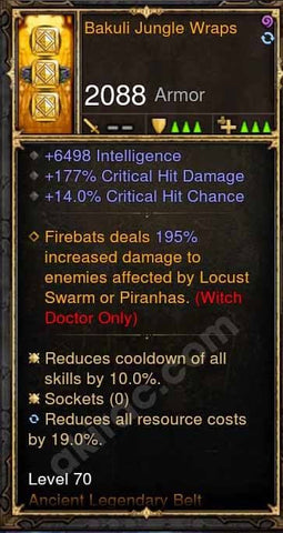 2.4.2 Bakuli Jungle Wraps 6.4k Int, 177% chd, 14% cc Witch Doctor Belt-Diablo 3 Mods - Playstation 4, Xbox One, Nintendo Switch