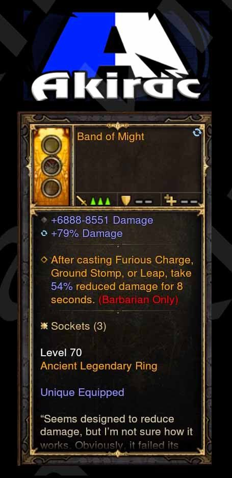 Band of Might 6.8k-8.5k Damage, 79% Damage Modded Ring (Unsocketed)-Diablo 3 Mods - Playstation 4, Xbox One, Nintendo Switch