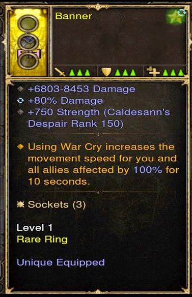 Increase Movement Speed 100% w/ Warcry Barbarian Modded Ring (Unsocketed) Banner-Diablo 3 Mods - Playstation 4, Xbox One, Nintendo Switch