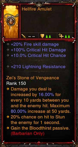 [Primal Ancient] Fake Legit Hellfire Amulet Barbarian Bloodthirst-Diablo 3 Mods - Playstation 4, Xbox One, Nintendo Switch