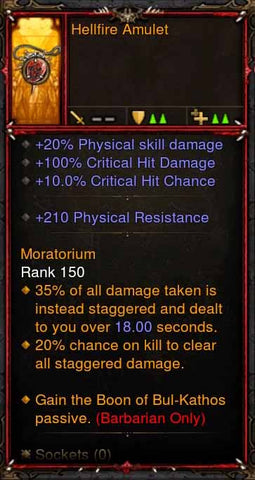 [Primal Ancient] Fake Legit Hellfire Amulet Barbarian Boon of BK-Diablo 3 Mods - Playstation 4, Xbox One, Nintendo Switch