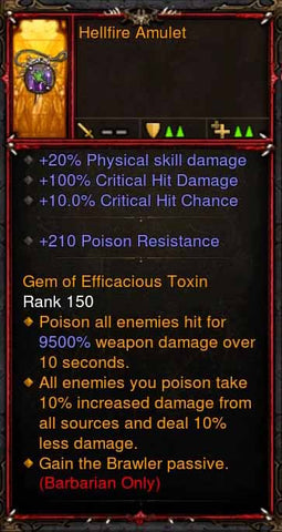 [Primal Ancient] Fake Legit Hellfire Amulet Barbarian Brawler Passive-Diablo 3 Mods - Playstation 4, Xbox One, Nintendo Switch