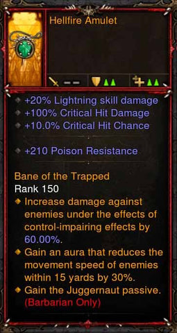 [Primal Ancient] Fake Legit Hellfire Amulet Barbarian Juggernaut-Diablo 3 Mods - Playstation 4, Xbox One, Nintendo Switch