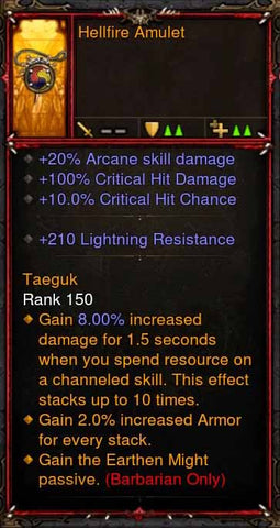 [Primal Ancient] Fake Legit Hellfire Amulet Barbarian Earthen Might-Diablo 3 Mods - Playstation 4, Xbox One, Nintendo Switch