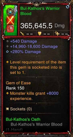 [Primal Ancient] 365k Actual DPS BulKathos Warrior Blood-Diablo 3 Mods - Playstation 4, Xbox One, Nintendo Switch