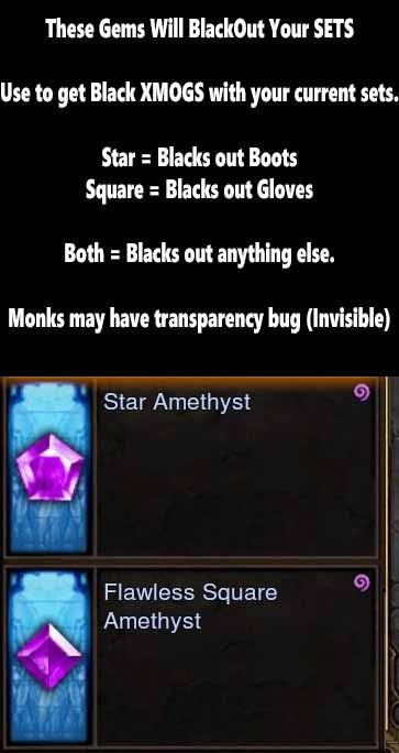 BLACKOUT XMOG Gems (Black out your own sets!)-Diablo 3 Mods - Playstation 4, Xbox One, Nintendo Switch
