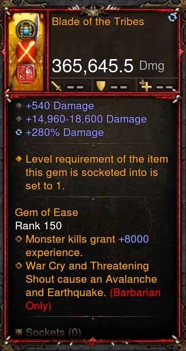 [Primal Ancient] 365k Actual DPS Blade of the Tribes-Diablo 3 Mods - Playstation 4, Xbox One, Nintendo Switch