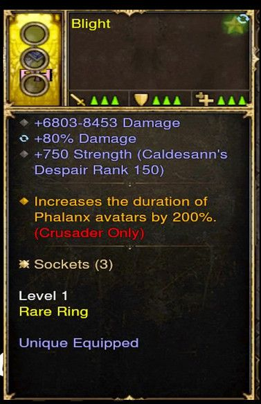 Increase duration of Phalanx by 200% Crusader Modded Ring (Unsocketed) Blight-Diablo 3 Mods - Playstation 4, Xbox One, Nintendo Switch
