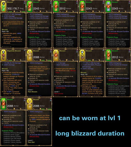 1-70 Firebird Wizard w/ Long Blizzard Duration Modded Set Blizzard-Diablo 3 Mods - Playstation 4, Xbox One, Nintendo Switch
