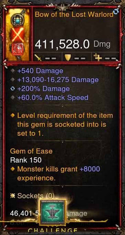 [Primal Ancient] 411k DPS Bow of the Lost Warlord-Diablo 3 Mods - Playstation 4, Xbox One, Nintendo Switch