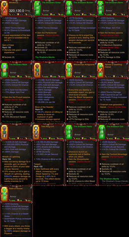 [Primal Ancient] 1-70 BobbaPearl's v2 Shadow Mantle Demon Hunter Set for 150 Rift #B9-Diablo 3 Mods - Playstation 4, Xbox One, Nintendo Switch
