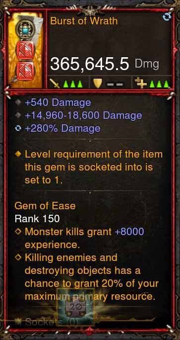[Primal Ancient] 365k Actual DPS Burst of Wrath-Diablo 3 Mods - Playstation 4, Xbox One, Nintendo Switch