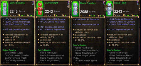 Level 1-70 Complete 4x Piece Modded Cain's w/ EXP Set-Diablo 3 Mods - Playstation 4, Xbox One, Nintendo Switch