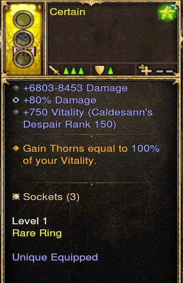 Thorns equal to 100% of your Vitality Modded Ring (Unsocketed) Certain-Diablo 3 Mods - Playstation 4, Xbox One, Nintendo Switch