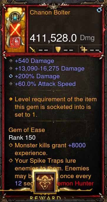 [Primal Ancient] 411k DPS Chanon Bolter-Diablo 3 Mods - Playstation 4, Xbox One, Nintendo Switch
