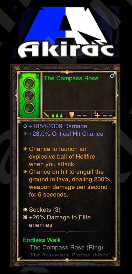 The Compass Rose 28% CC, Fireball, Ground Lava, 26% Elite Damage (Unsocketed) Modded Ring-Diablo 3 Mods - Playstation 4, Xbox One, Nintendo Switch
