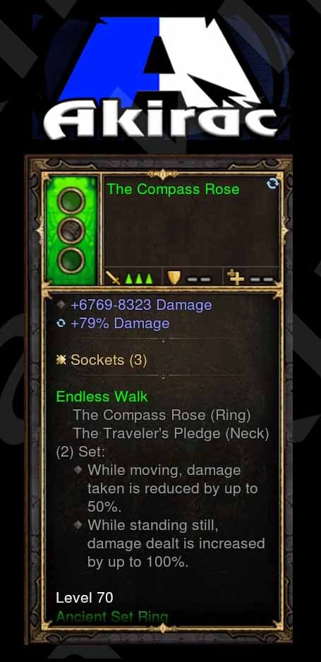The Compass Rose 6.7k-8.3k Damage, 79% Damage (Unsocketed) Modded Ring-Diablo 3 Mods - Playstation 4, Xbox One, Nintendo Switch