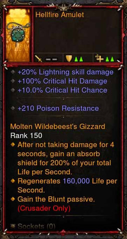 [Primal Ancient] Fake Legit Hellfire Amulet Crusader Blunt Passive-Diablo 3 Mods - Playstation 4, Xbox One, Nintendo Switch