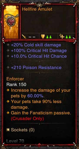 [Primal Ancient] Fake Legit Hellfire Amulet Crusader Fanaticism-Diablo 3 Mods - Playstation 4, Xbox One, Nintendo Switch