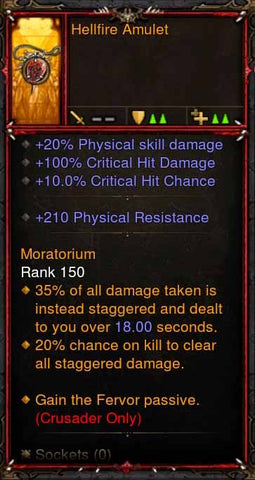 [Primal Ancient] Fake Legit Hellfire Amulet Crusader Fervor-Diablo 3 Mods - Playstation 4, Xbox One, Nintendo Switch