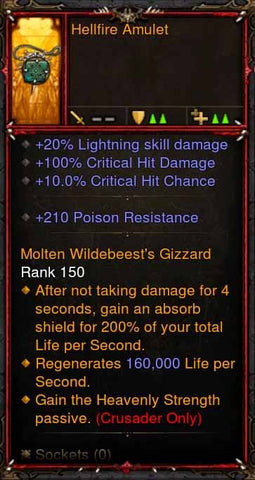 [Primal Ancient] Fake Legit Hellfire Amulet Crusader Heavenly Strength-Diablo 3 Mods - Playstation 4, Xbox One, Nintendo Switch