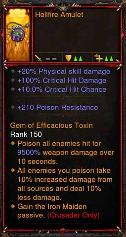 [Primal Ancient] Fake Legit Hellfire Amulet Crusader Iron Maiden-Diablo 3 Mods - Playstation 4, Xbox One, Nintendo Switch