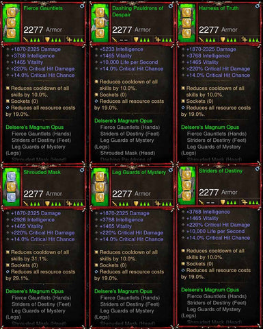 [Primal Ancient] 6x Delsere Wizard Set-Diablo 3 Mods - Playstation 4, Xbox One, Nintendo Switch