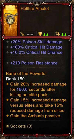 [Primal Ancient] Fake Legit Hellfire Amulet Demon Hunter Ambush Passive-Diablo 3 Mods - Playstation 4, Xbox One, Nintendo Switch