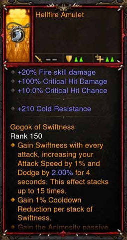 [Primal Ancient] Fake Legit Hellfire Amulet Demon Hunter Animosity Passive-Diablo 3 Mods - Playstation 4, Xbox One, Nintendo Switch