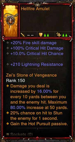 [Primal Ancient] Fake Legit Hellfire Amulet Demon Hunter Hot Pursuit-Diablo 3 Mods - Playstation 4, Xbox One, Nintendo Switch