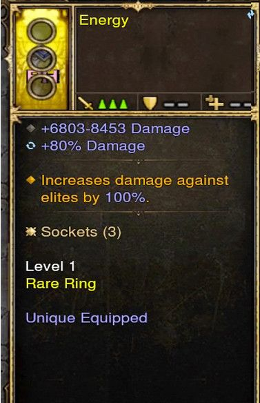 Increase Damage to Elite by 100% Modded Ring (Unsocketed) Energy-Diablo 3 Mods - Playstation 4, Xbox One, Nintendo Switch