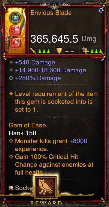 [Primal Ancient] 365k Actual DPS Envious Blade-Diablo 3 Mods - Playstation 4, Xbox One, Nintendo Switch