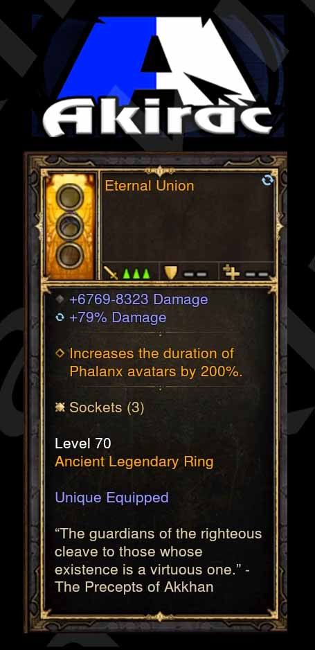 Eternal Union 6.7k-8.3k Damage, 79% Damage Modded Ring (Unsocketed)-Diablo 3 Mods - Playstation 4, Xbox One, Nintendo Switch
