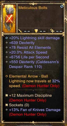 Fake Legit Meticulous Bolts Quiver 20% Lightning, 20% attack speed, 6756 LPS, 13% FOK-Diablo 3 Mods - Playstation 4, Xbox One, Nintendo Switch