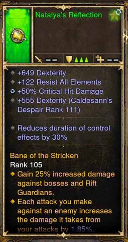 Fake Legit Natalya's Reflection Ring 122 Resist All, 50% CHD, RDC 30%, 649 Dex-Diablo 3 Mods - Playstation 4, Xbox One, Nintendo Switch