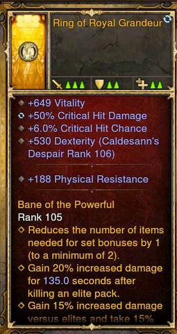Fake Legit Ring of Royal Grandeur 649 Vit, 50% CHD, 6% CC, 188 Physical Resist-Diablo 3 Mods - Playstation 4, Xbox One, Nintendo Switch
