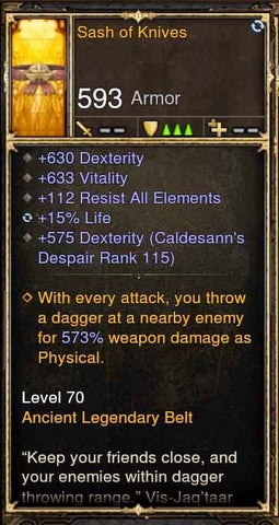 Fake Legit Sash of Knives Belt 630 Dex, 633 Vit, 112 RA, 15% Life-Diablo 3 Mods - Playstation 4, Xbox One, Nintendo Switch