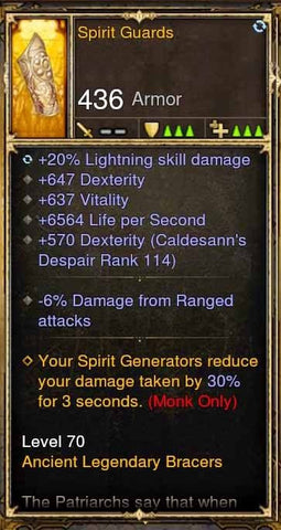 Fake Legit Spirit Guards Bracers 20% Lightning, 647 Dex, 637 Vit, 6564 LPS, -6% From Range Attacks-Diablo 3 Mods - Playstation 4, Xbox One, Nintendo Switch