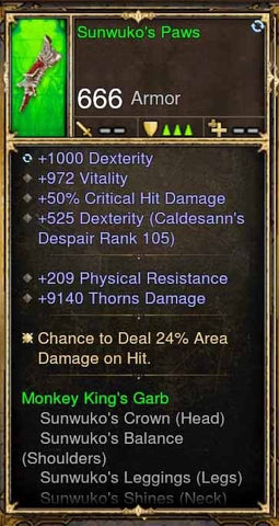 Fake Legit Sunwuko's Paws Gloves 1000 Dex, 972 Vit, 50% CGD, 9140 Thorns-Diablo 3 Mods - Playstation 4, Xbox One, Nintendo Switch