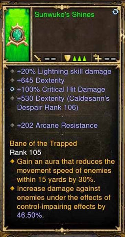 Fake Legit Sunwuko's Shines Amulet 20% Lightning, 645 Dex, 100% CHD-Diablo 3 Mods - Playstation 4, Xbox One, Nintendo Switch
