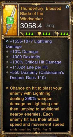 Fake Legit 3k Thunder Fury Weapon Sword 10% Damage, 1000 Dex, 11k LPH, 290%-Diablo 3 Mods - Playstation 4, Xbox One, Nintendo Switch