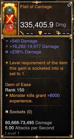 Flail of Carnage 335k Actual DPS Modded Weapon-Diablo 3 Mods - Playstation 4, Xbox One, Nintendo Switch