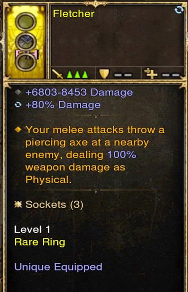 Attacks (Melee) Throw Piercing Axe 100% Damage Modded Ring (Unsocketed) Fletcher-Diablo 3 Mods - Playstation 4, Xbox One, Nintendo Switch