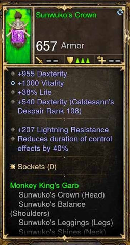 Fake Legit Sunwuko's Crown Helm 955 Dex, 1000 Vit, Reduce Effects 40%-Diablo 3 Mods - Playstation 4, Xbox One, Nintendo Switch
