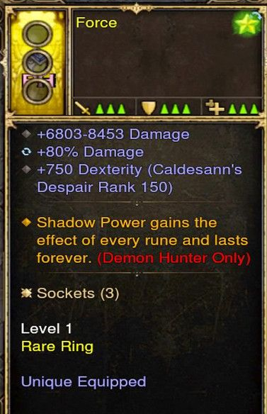 Shadow Power Gains effect of Every Rune Demon Hunter Modded Ring (Unsocketed) Force-Diablo 3 Mods - Playstation 4, Xbox One, Nintendo Switch