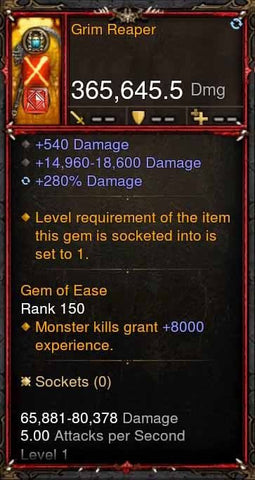 [Primal Ancient] 365k Actual DPS Grim Reaper-Diablo 3 Mods - Playstation 4, Xbox One, Nintendo Switch