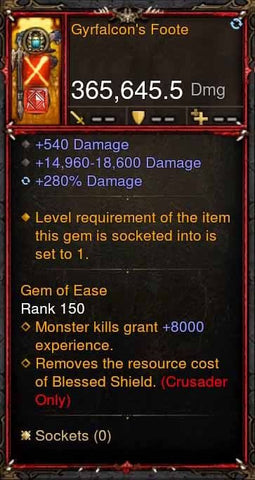 [Primal Ancient] 365k Actual DPS Gyrfalcons Foote-Diablo 3 Mods - Playstation 4, Xbox One, Nintendo Switch